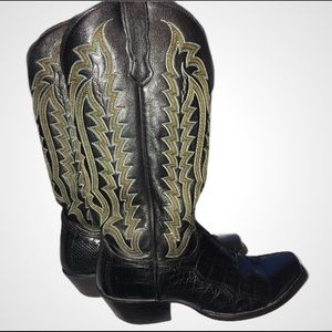 EUC Nocona Genuine Black Caiman Boots 7-1/2B